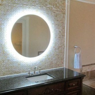 apvalus veidrodis su LED