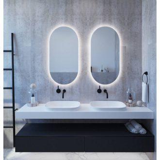 apvalus veidrodis su apsvietimu